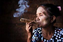 A Burmese woman smoking