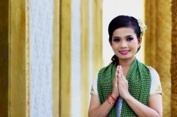 Phnom penh girl greetings in Cambodia