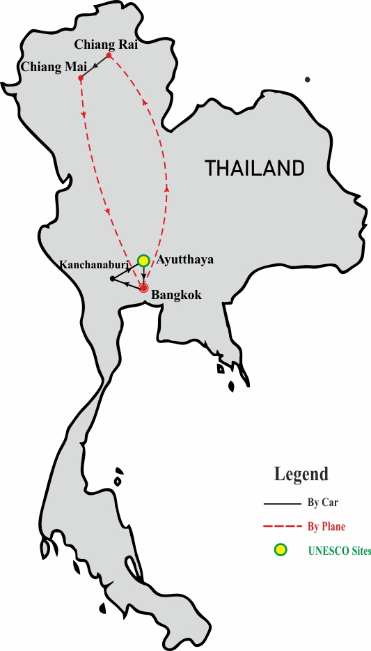 Essential Thailand 10 days tour map