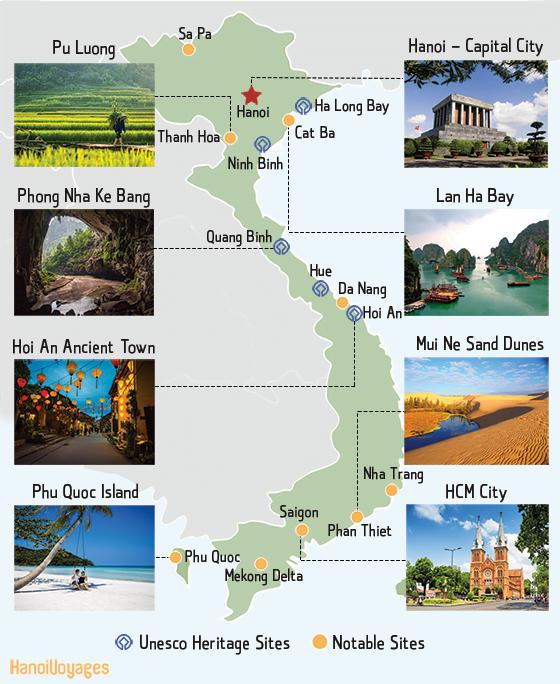 Vietnam Must-see destinations maps