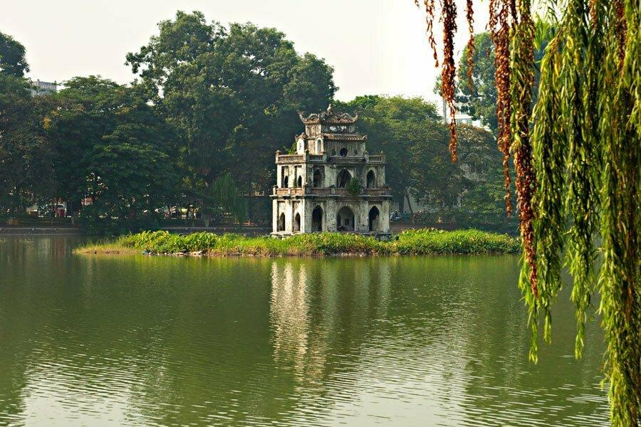 Turtle tower in Hoam Kiem Lake in Hanoi