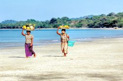 Some Burmese on Ngapali beach