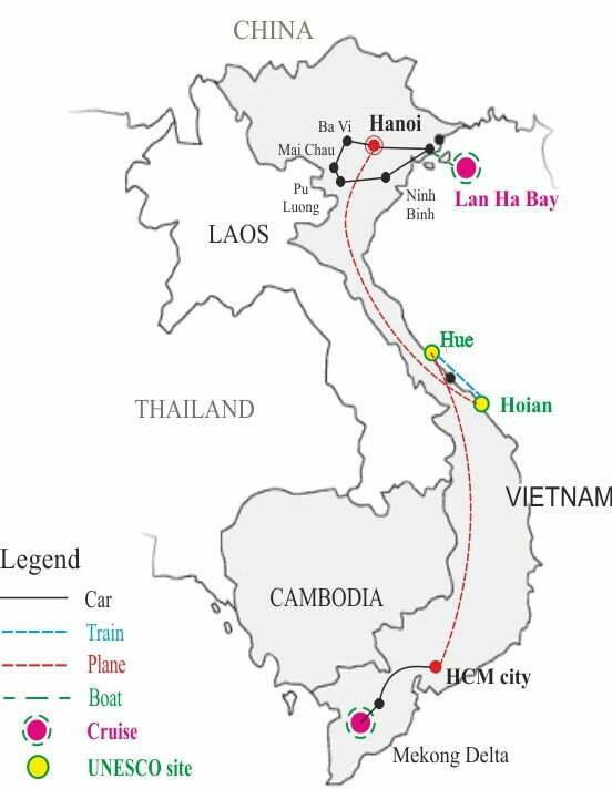 Vietnam nature and active tour 18 days map