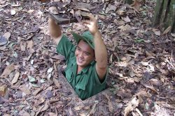 Man hiding in Cu Chi Tunnel