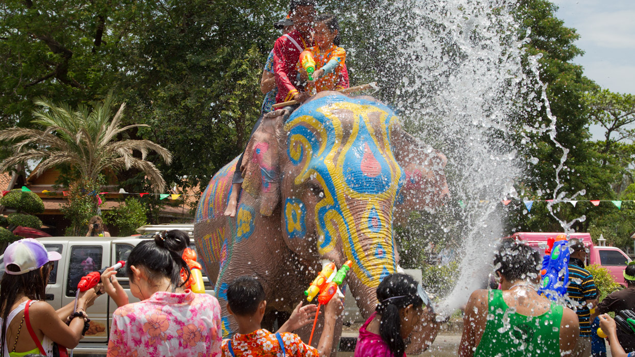 Water festival with elephants in Songkran