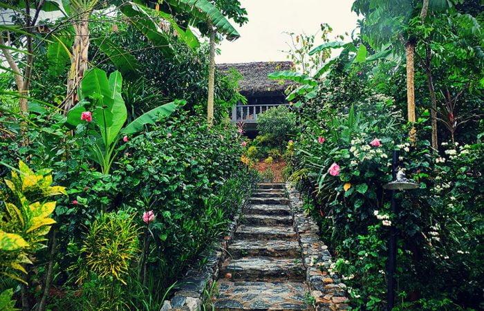 The way to Mai Chau Ecolodge bungalow