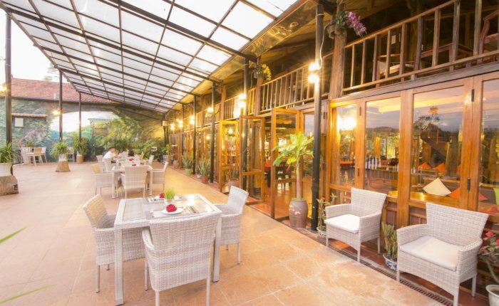 restaurant terrace in lake house phong nha