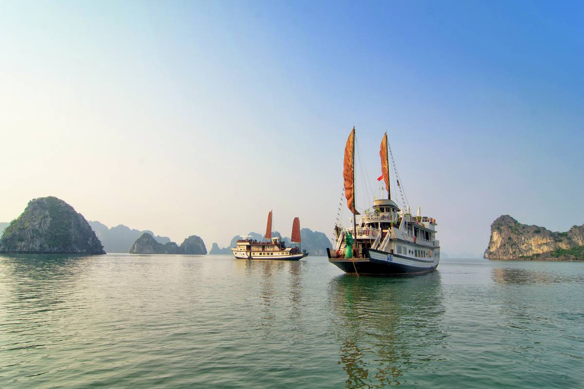 Sail on Dragon Pearl Cruise in less crowded area of Halong Bay