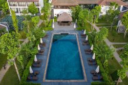 aravinda resort - garden and pool view from above