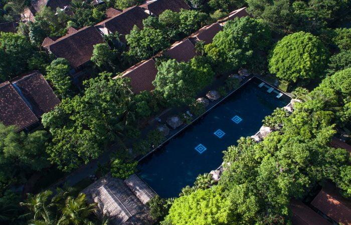 pilgrimage village resort from above