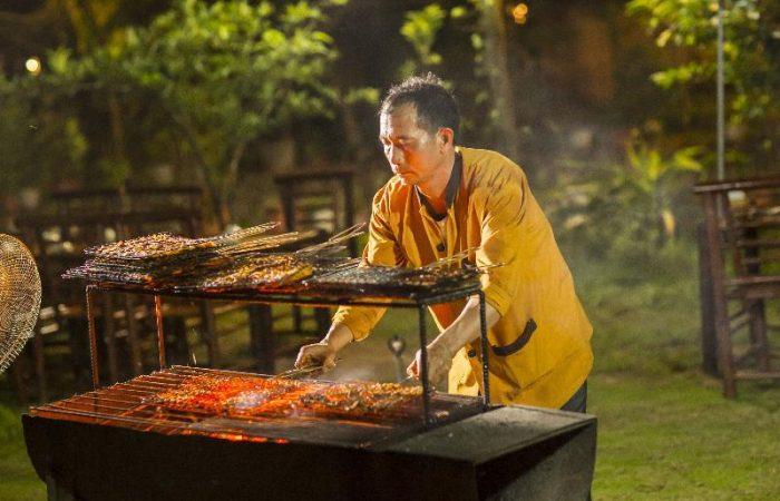 Tam Coc Rice Fields Resort BBQ Preparation